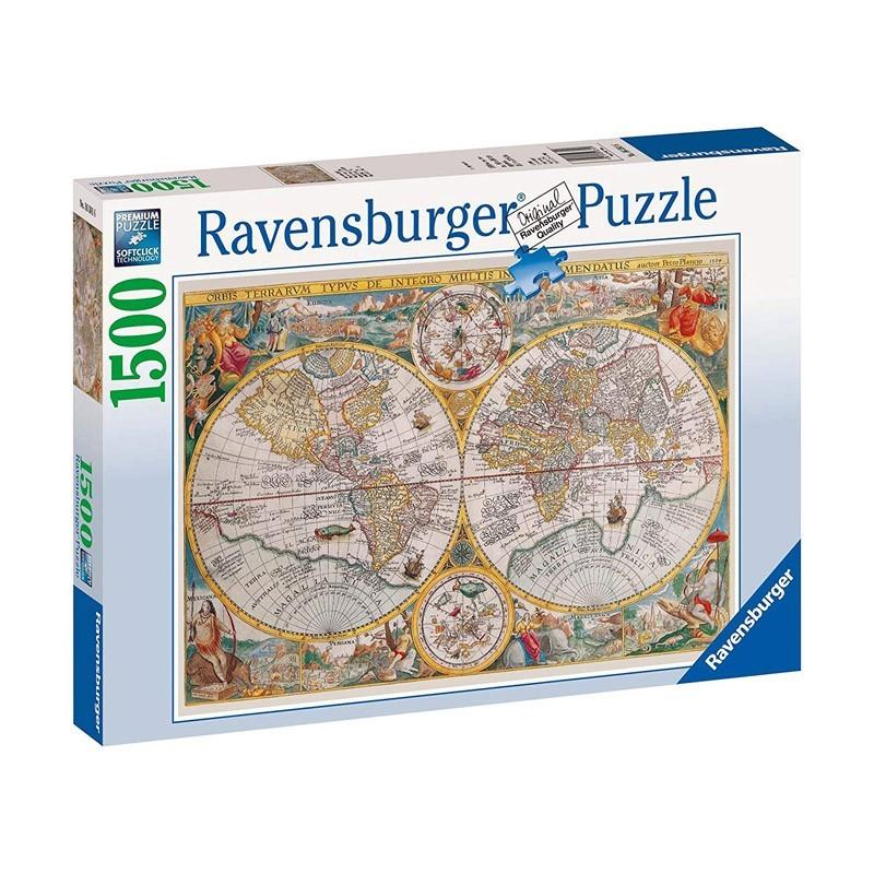 Ravensburger 16381. Puzzle 1500 Piezas Mapamundi Histórico