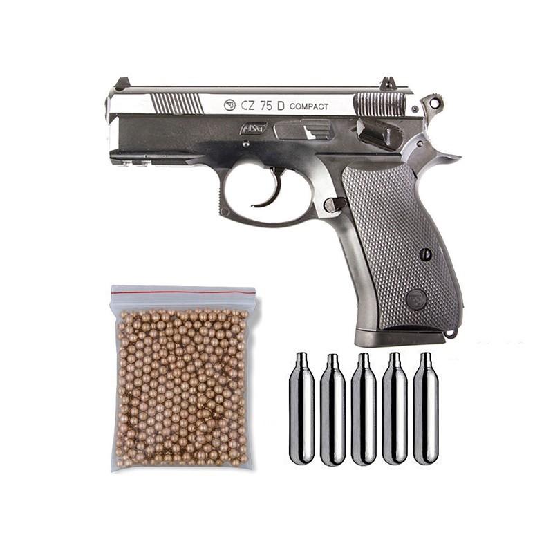 ASG 16200. Pack Pistola CZ-75 D Compact Dual Tone