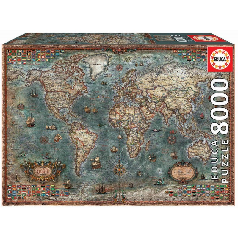 Educa 18017. Puzzle 8000 Piezas Mapamundi Histórico