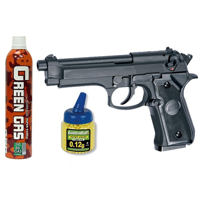 ASG 11555. Pack Pistola M92F Negra Gas 18398/21993