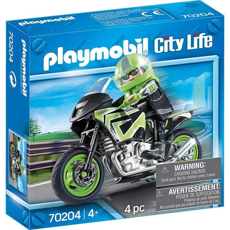 PLaymobil 70204. Motorista con Moto