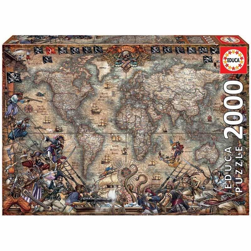 Educa 18008. Puzzle 2000 Piezas Mapa de Piratas
