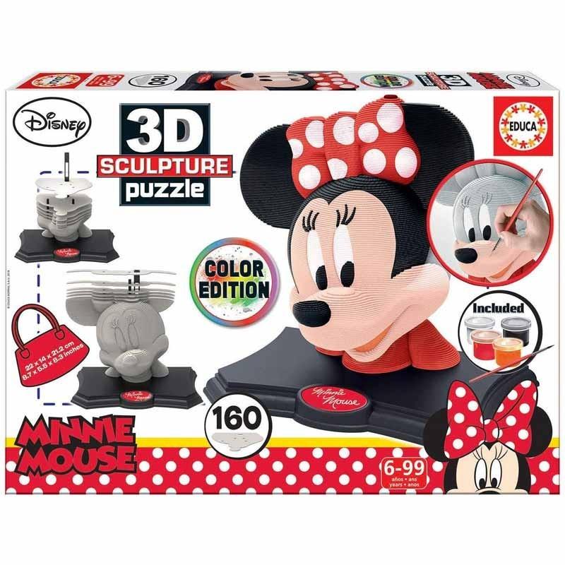 Educa 17930. Puzzle 3D Minnie Mouse 160 Piezas