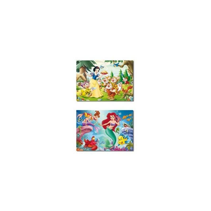 12906. Puzzle Educa 2x20 piezas, Blancanieves + Sirenita