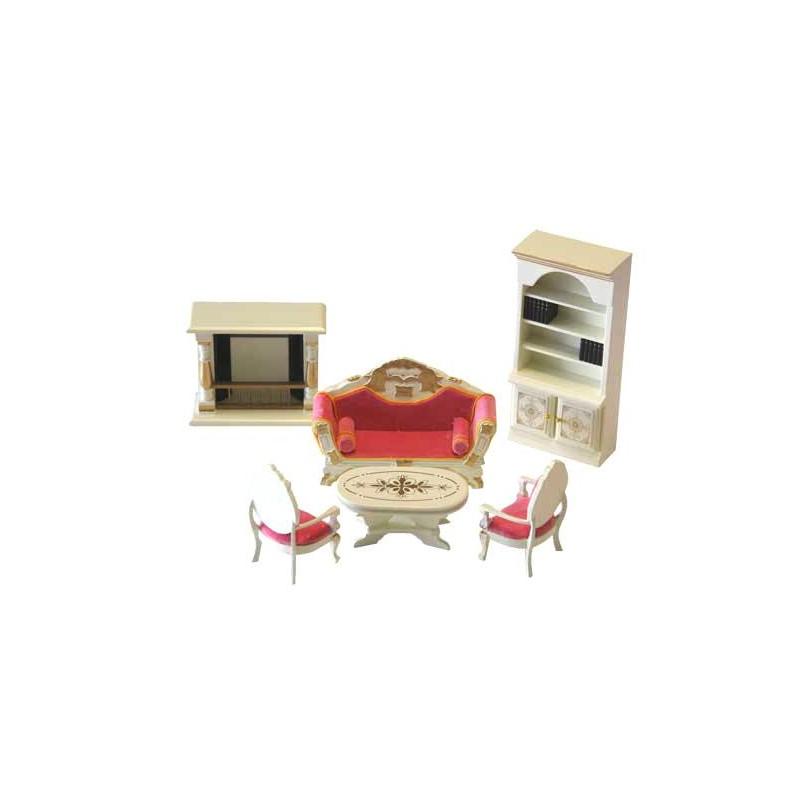 SP868. Ambiente Salón con chimenea 6 piezas para casa de muñecas