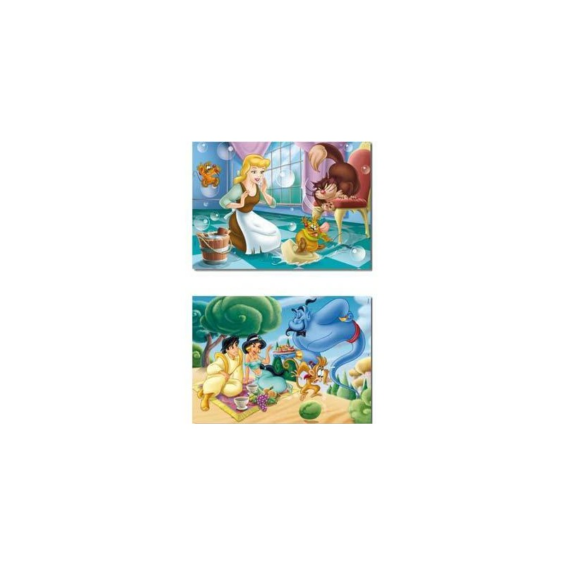 12907. Puzzle Educa 2x48 piezas, Cenicienta & Jasmin