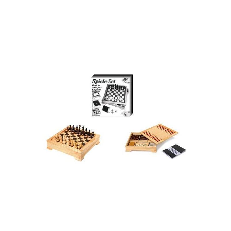 7580. Juegos de mesa Set de Juegos en caja de madera