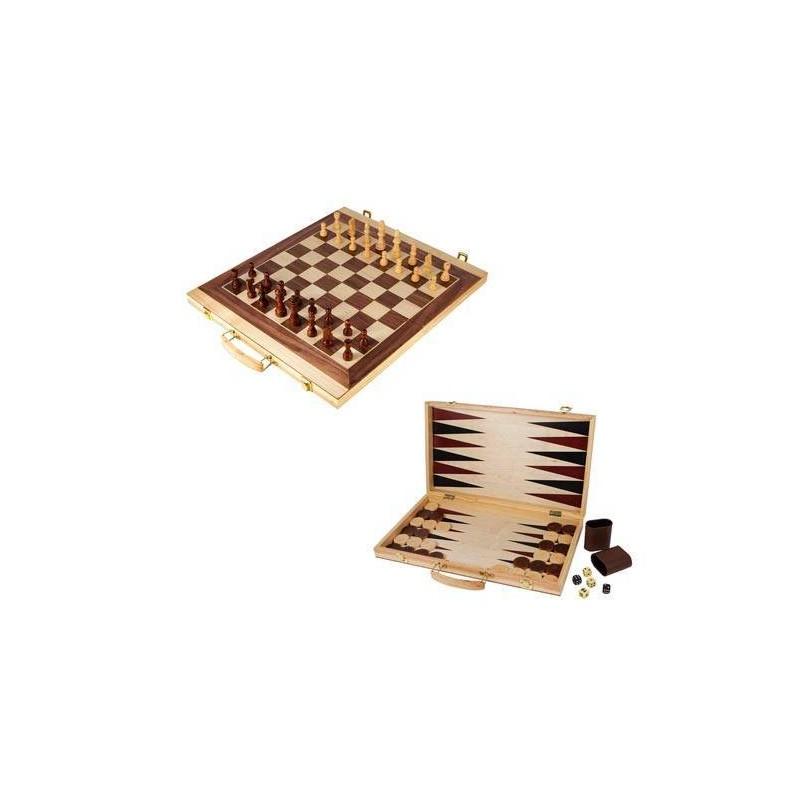 2853. Juego de mesa Maleta para Ajedrez y Backgammon en madera
