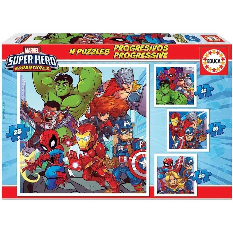 4 Puzzles Progresivos Marvel Super Hero Adventures