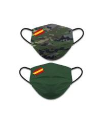Mascarilla Camuflaje Verde Reversible