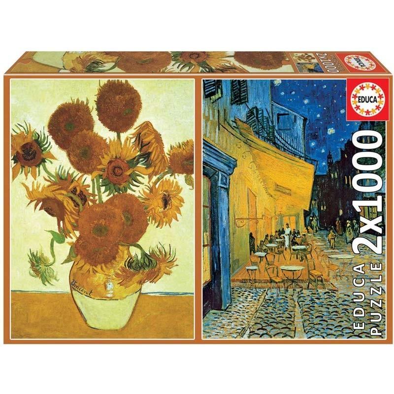 Puzzle 2x1000 piezas Los girasoles y Terraza de café por la noche