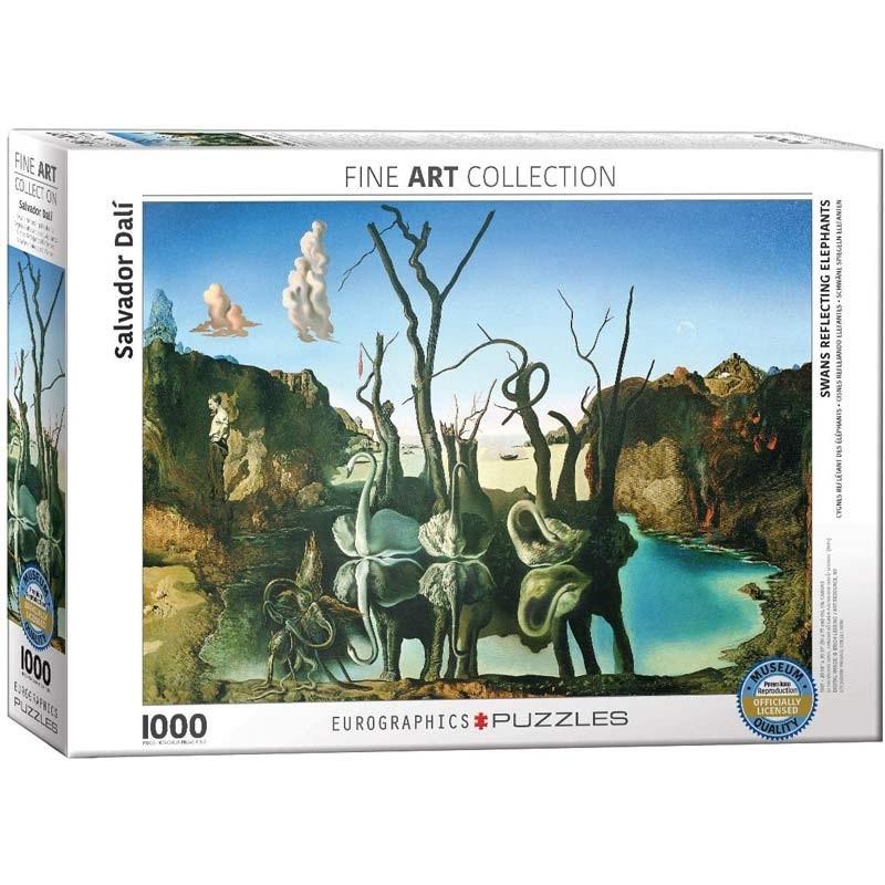 Puzzle 1000 piezas Cisnes reflejando Elefantes